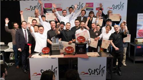 Tendances restauration rapide Finalistes championnat de France du Sushi 2017 (Wagner Spadacio au centre)